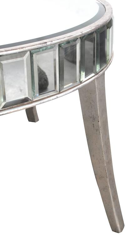 Mid-Century Modern Shimmering American Mirrored Cocktail Table with Silver Giltwood Supports For Sale