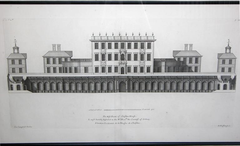 Rare Set of Three English Architectural Copper Engravings by Colen Campbell For Sale 1