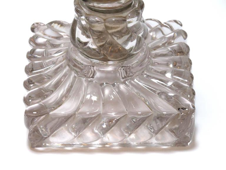 19th Century Good Quality Pair of American Lamps of Solid Spiraling Clear Glass For Sale