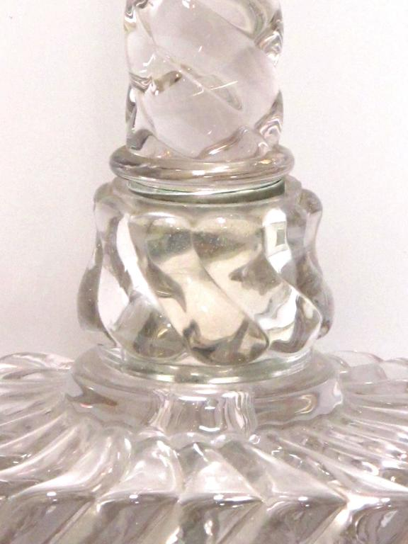 Good Quality Pair of American Lamps of Solid Spiraling Clear Glass For Sale 1
