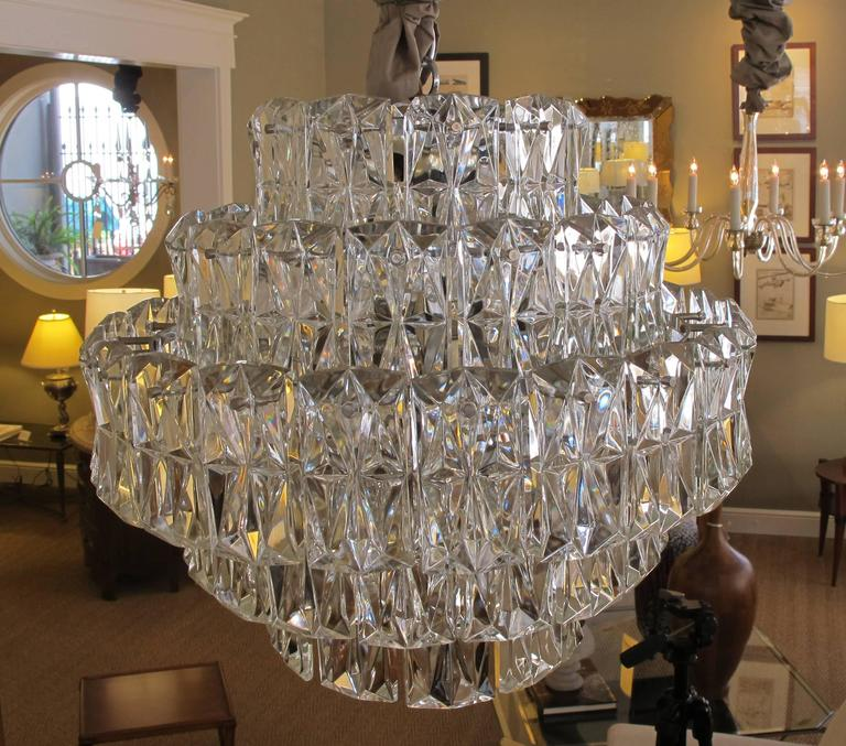 Striking German 5-Tier Chandelier W Chrome Frame & Molded Crystals; Kinkeldey In Excellent Condition For Sale In San Francisco, CA