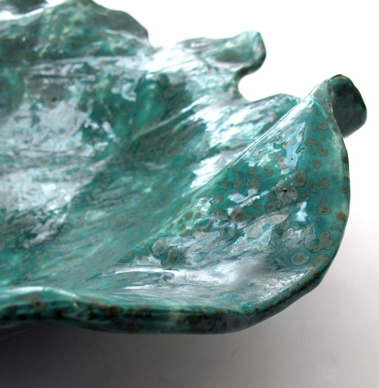 Large-Scaled American Art Studio Teal-Glazed Abstract Leaf 2