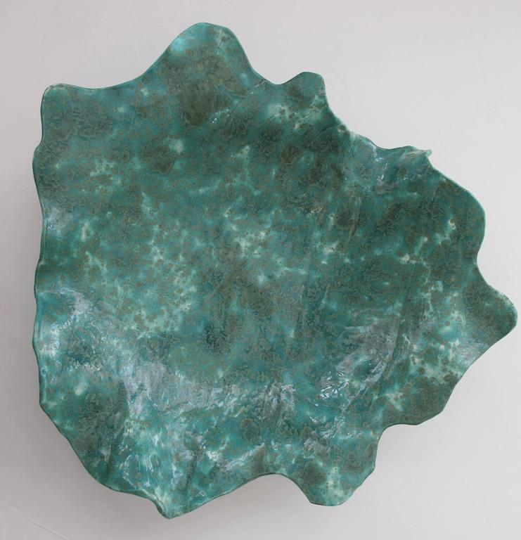 Large-Scaled American Art Studio Teal-Glazed Abstract Leaf 3