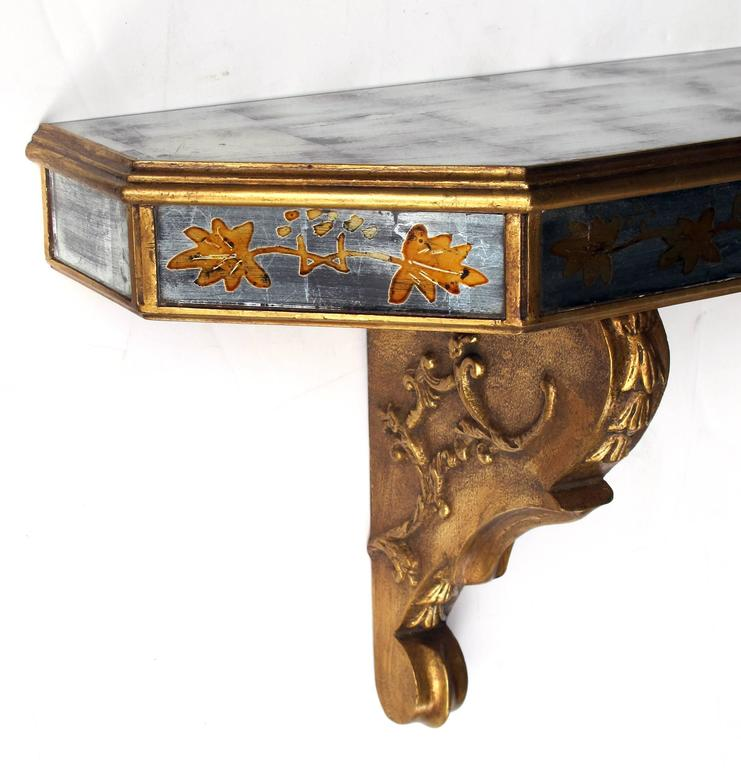 Chic French Maison Jansen 1940s Gilt Wood and églomisé Wall Console In Excellent Condition For Sale In San Francisco, CA