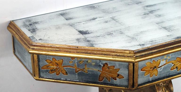 Mid-20th Century Chic French Maison Jansen 1940s Gilt Wood and églomisé Wall Console For Sale
