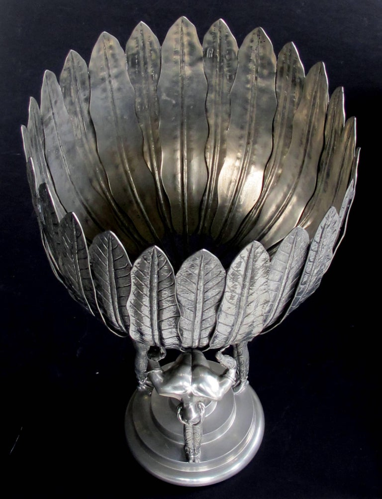 Stunningly Large Italian Art Deco Style Piero Figura Pewter Centerpiece Stamped For Sale At 1stdibs