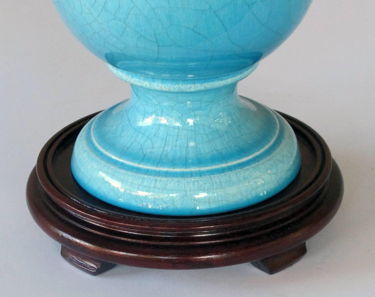 Striking Pair of French Art Deco Turquoise Crackle-Glazed Urns Now Lamps In Excellent Condition For Sale In San Francisco, CA