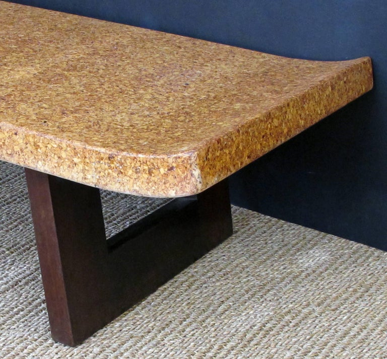 Mid-Century Modern Asian-Inspired Paul Frankl for Johnson Furniture Cork Top Bench or Low Table For Sale