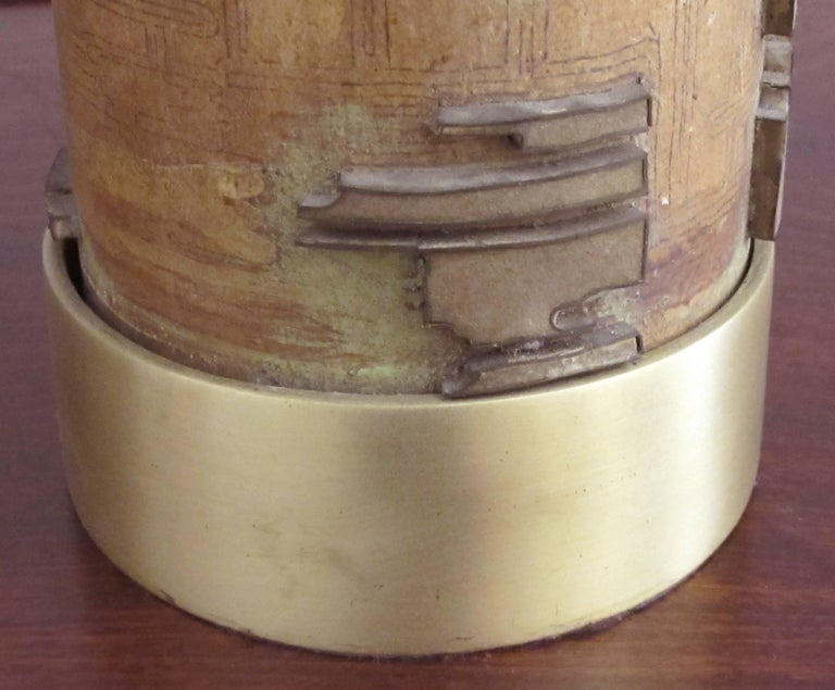 Well-Crafted Pr of French Art Deco Wall Paper Roller Lamps w/Solid Brass Mounts In Excellent Condition For Sale In San Francisco, CA