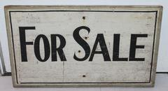 """Early 20Thc Original  Painted """"For Sale"""" Trade Sign"""
