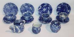 Rare 19th Century Children's 16 Pieces Spongeware Tea Set
