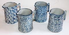 Collection of Four 19Thc  Sponge Ware Milk Pitcher