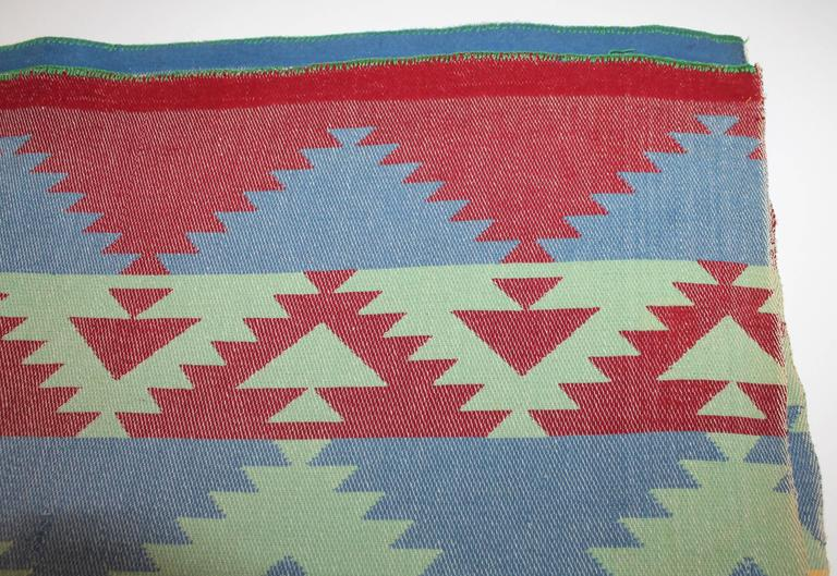 This fine early cotton Indian design camp blanket is in good condition. The most unusual muted colors blanket has a powerful design pattern.