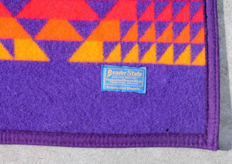 Adirondack Amazing Colorful Vintage Pendleton Indian Design Camp Blanket For Sale
