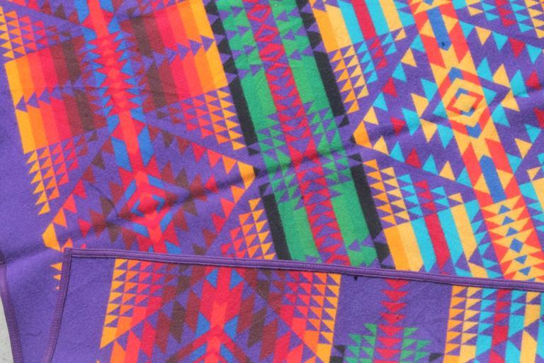 Mid-20th Century Amazing Colorful Vintage Pendleton Indian Design Camp Blanket For Sale
