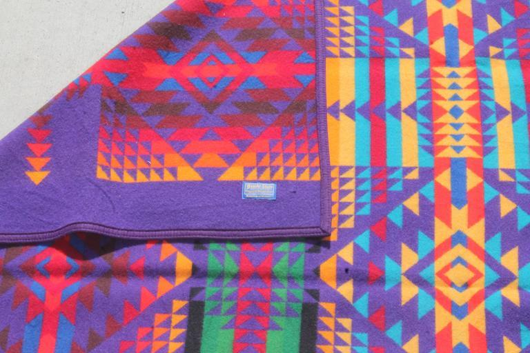 Machine-Made Amazing Colorful Vintage Pendleton Indian Design Camp Blanket For Sale