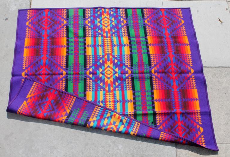 Wool Amazing Colorful Vintage Pendleton Indian Design Camp Blanket For Sale
