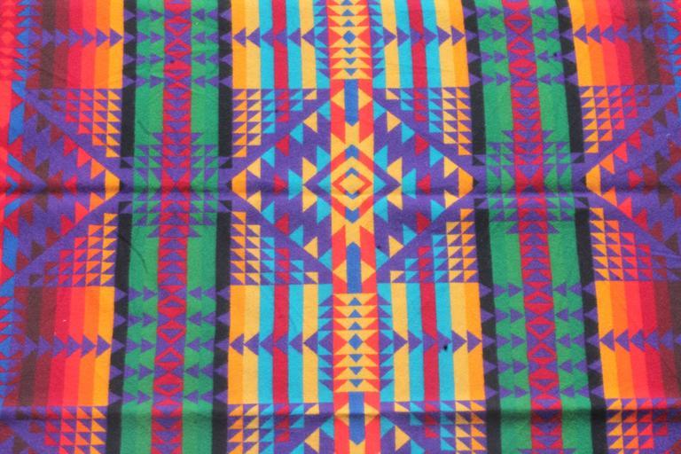 Amazing Colorful Vintage Pendleton Indian Design Camp Blanket For Sale 1