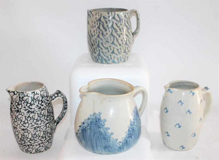 Country Collection of Four 19th Century Sponge Ware Pottery Pitchers For Sale