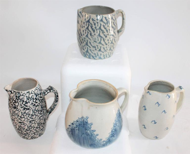 Collection of Four 19th Century Sponge Ware Pottery Pitchers 2
