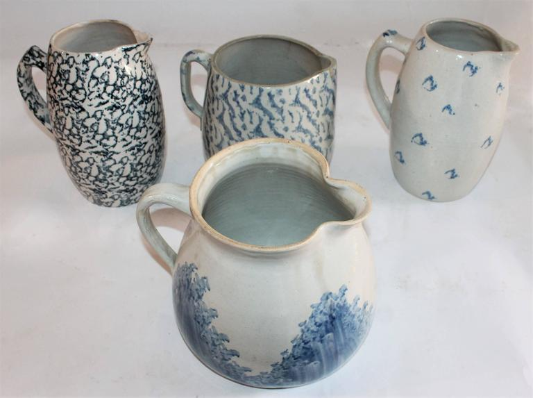 Collection of Four 19th Century Sponge Ware Pottery Pitchers 4