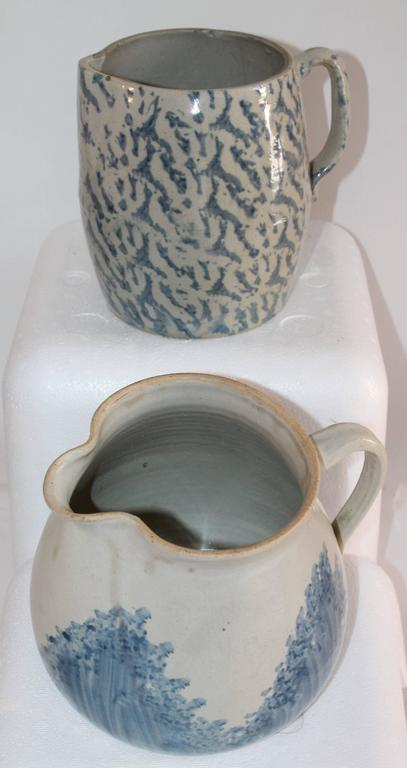 Hand-Crafted Collection of Four 19th Century Sponge Ware Pottery Pitchers For Sale