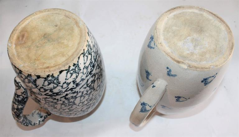 Collection of Four 19th Century Sponge Ware Pottery Pitchers For Sale 2