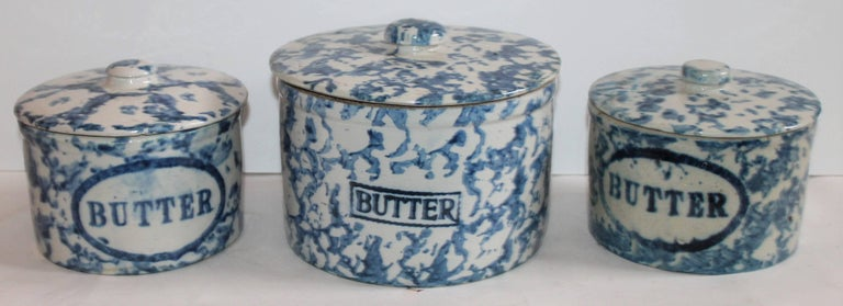These three different sponge ware Butter crocks are in good condition with minor repairs to the lids as found in collection. Sold as a group.