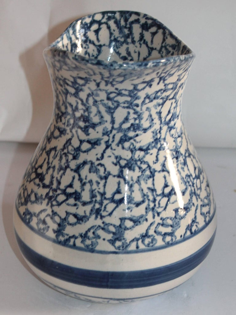 Folk Art Monumental 19th Century Sponge Ware Pottery Pitcher For Sale