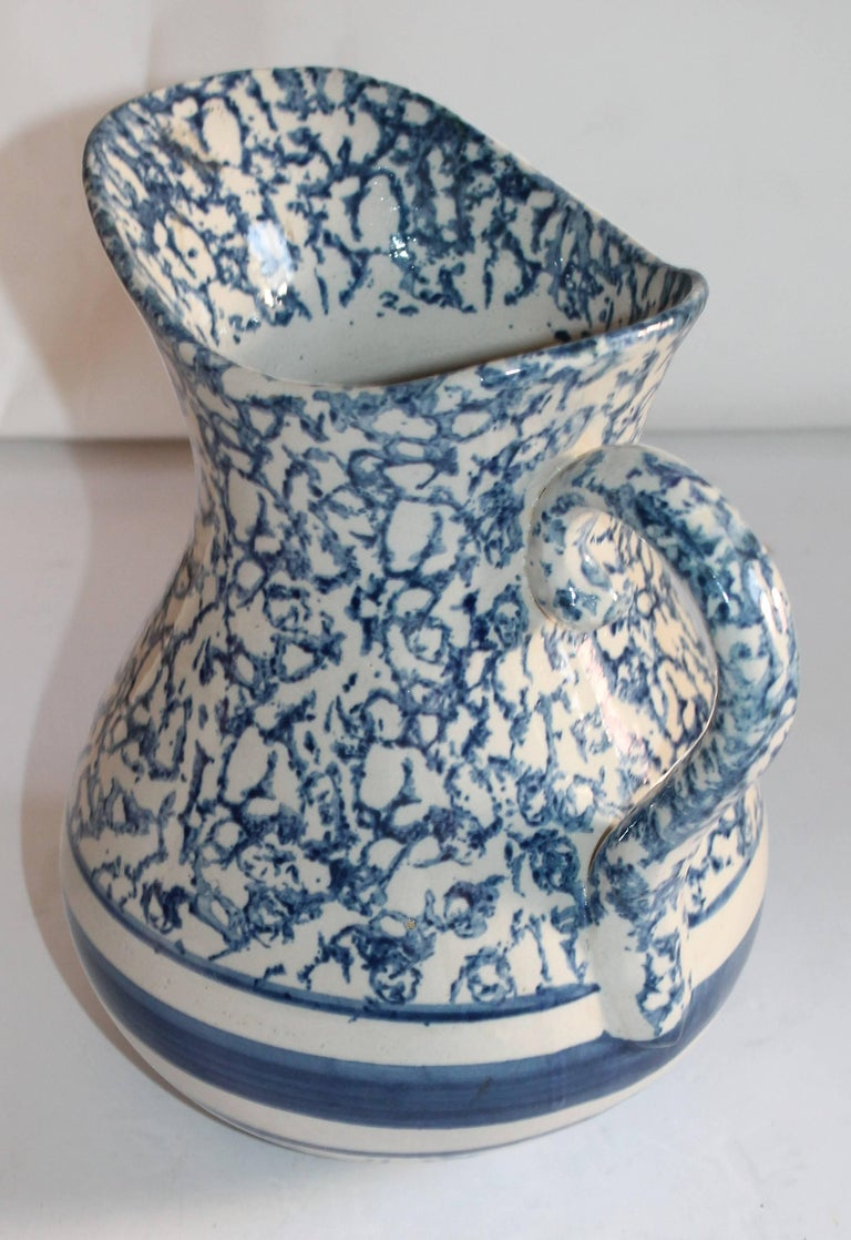 American Monumental 19th Century Sponge Ware Pottery Pitcher For Sale