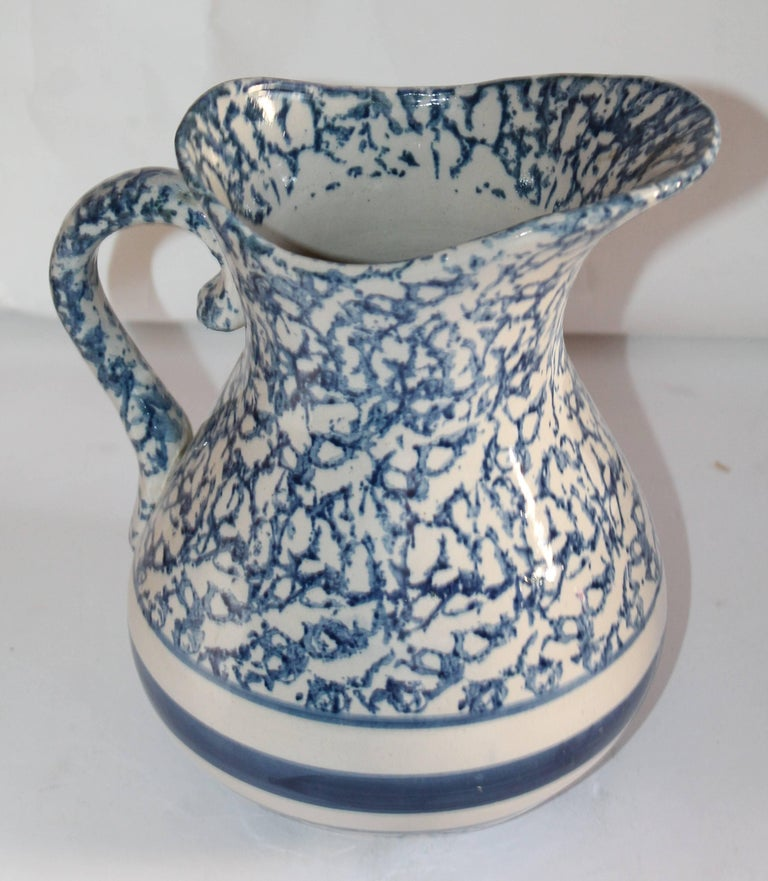 Amazing 19th century sponge ware pottery water pitcher. Pristine condition.