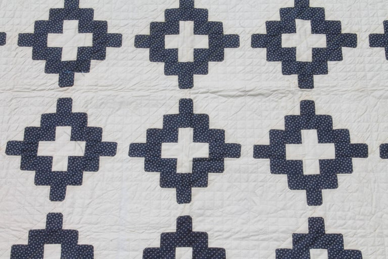 19th Century Pristine Blue and White Chimney Sweep Quilt 2