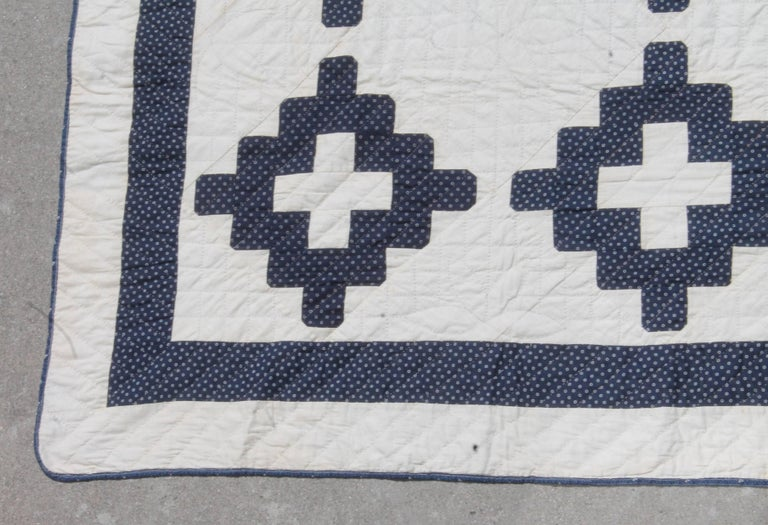 19th Century Pristine Blue and White Chimney Sweep Quilt 4