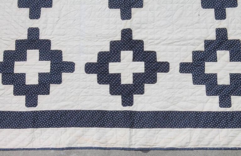 19th Century Pristine Blue and White Chimney Sweep Quilt 5
