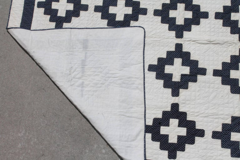 19th Century Pristine Blue and White Chimney Sweep Quilt 6
