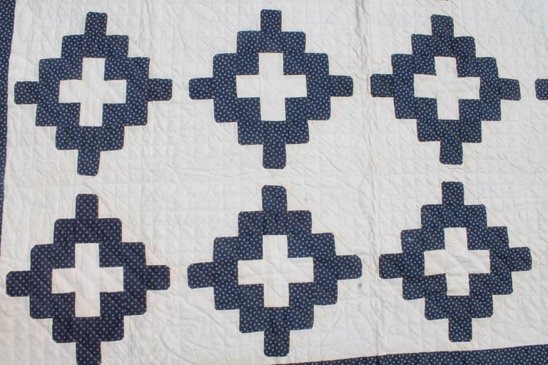 19th Century Pristine Blue and White Chimney Sweep Quilt 3