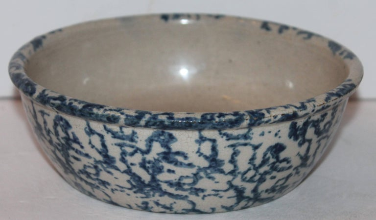 19th century sponge ware pottery bowl. The condition is very good. Great for serving berries or vegetables. Great size!
