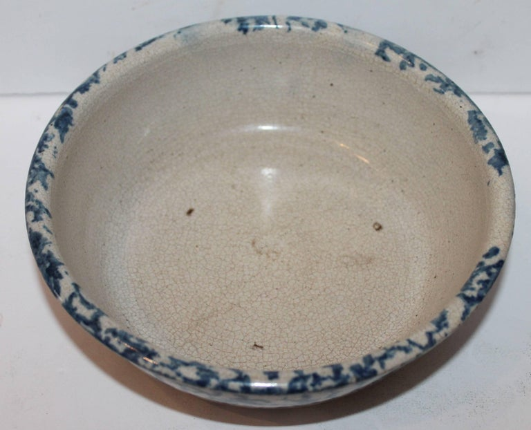 Country 19th Century Sponge Ware Pottery Serving Bowl For Sale