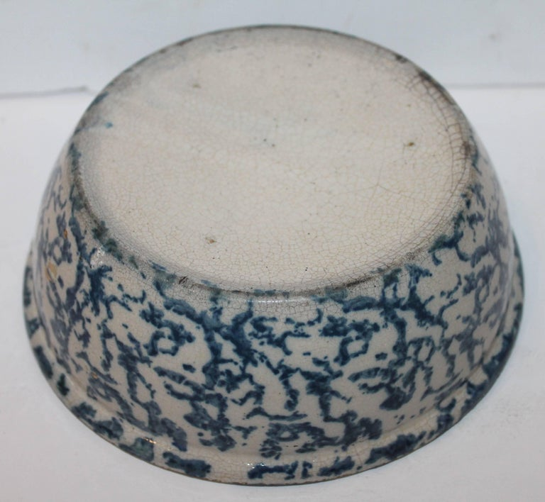 19th Century Sponge Ware Pottery Serving Bowl 6