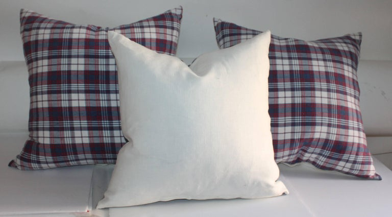 Hand-Crafted 19th Century Plaid Linen Ticking Pillows For Sale
