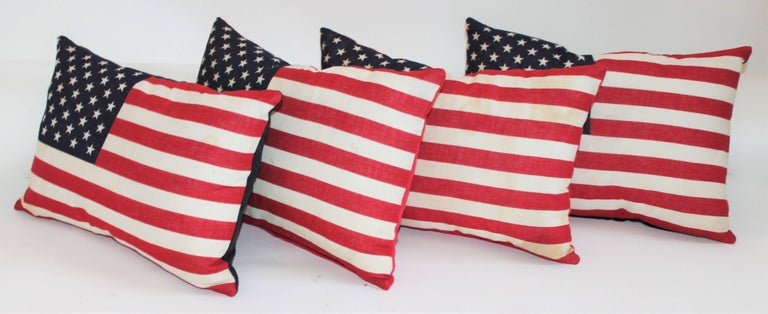 American Flag Pillows / Four Vintage 50 Star Flag Pillows For Sale