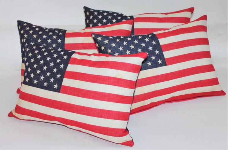 Folk Art Flag Pillows / Four Vintage 50 Star Flag Pillows For Sale