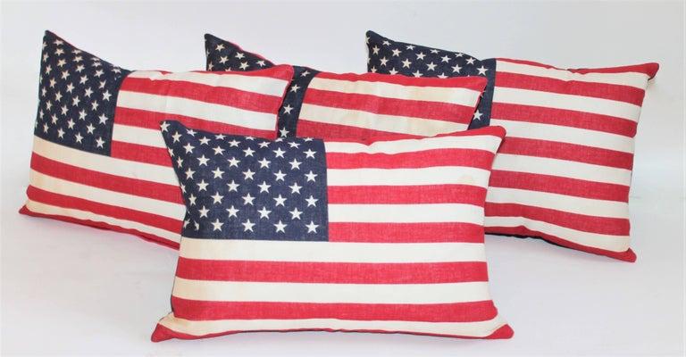 Machine-Made Flag Pillows / Four Vintage 50 Star Flag Pillows For Sale