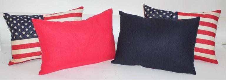 Cotton Flag Pillows / Four Vintage 50 Star Flag Pillows For Sale