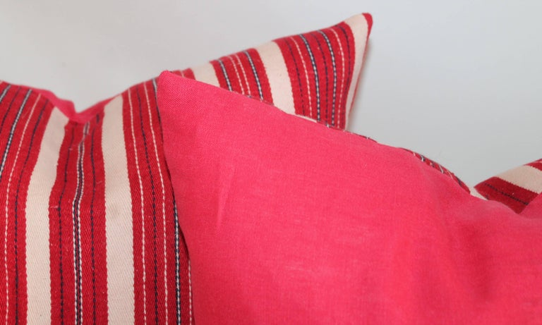 Hand-Crafted Red Ticking 19th Century Pillows, Pair For Sale