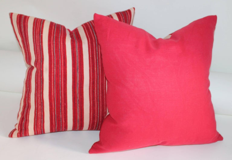 American Red Ticking 19th Century Pillows, Pair For Sale