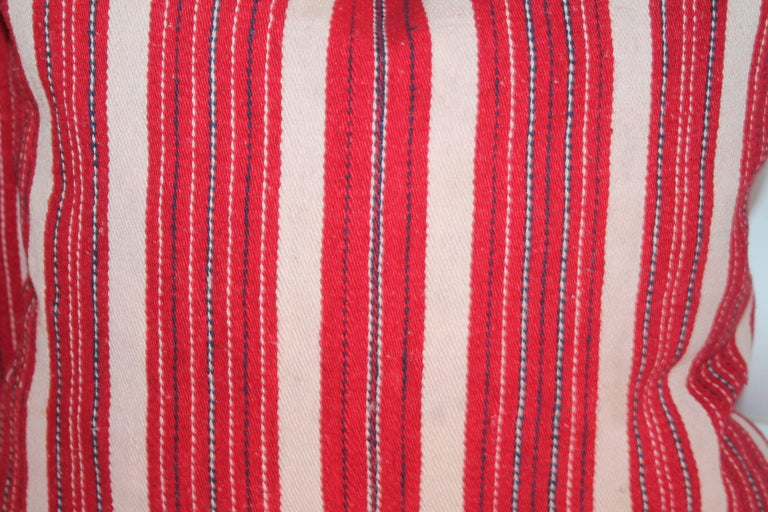 Adirondack Red Ticking 19th Century Pillows, Pair For Sale