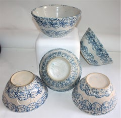 19Thc Sponge Ware Pottery Colllection of  Mixing Bowls