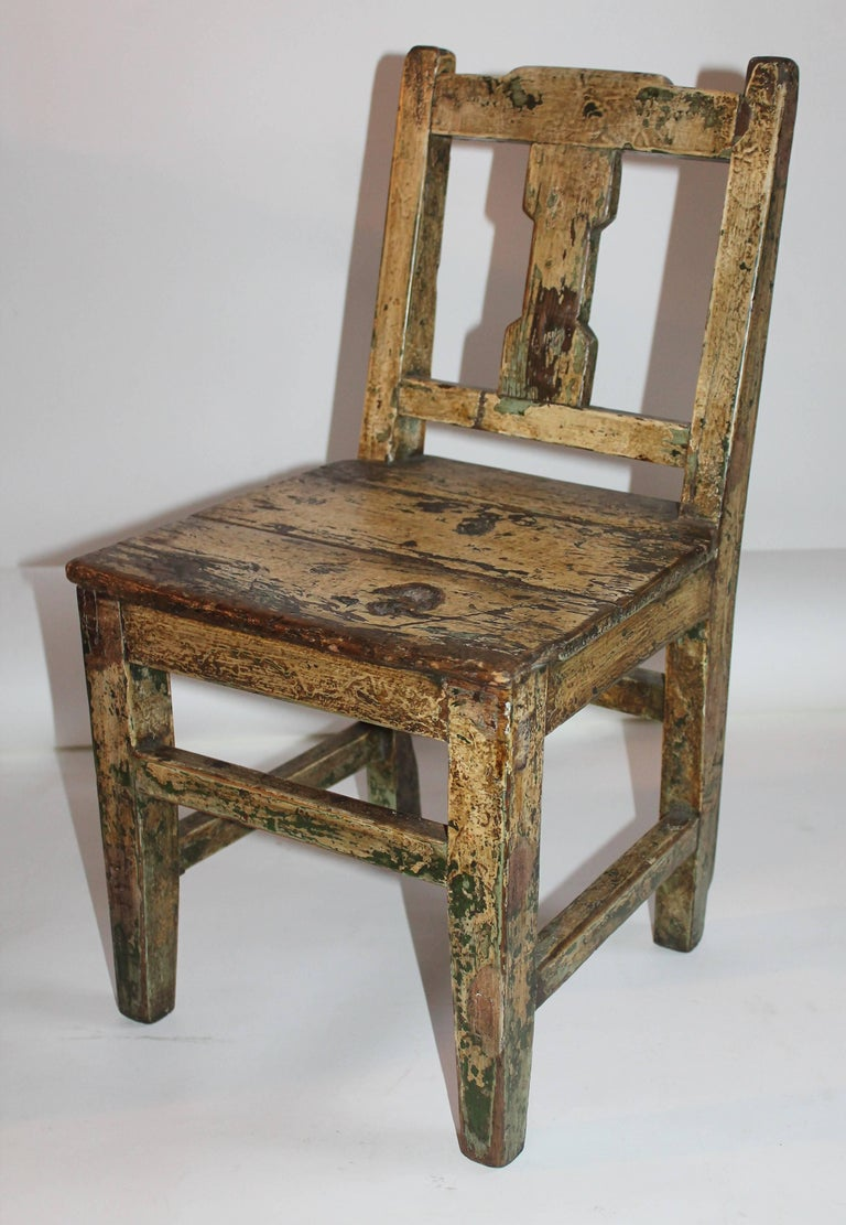 19th Century Original Painted Pueblo Childs Chair For Sale At 1stdibs
