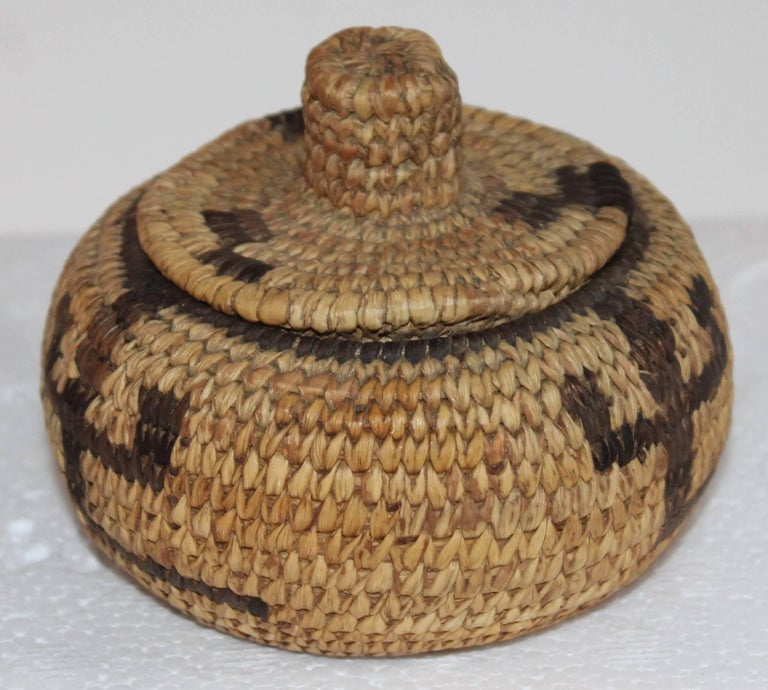 Pima Indian Miniature Hand-Woven Lided Basket 2